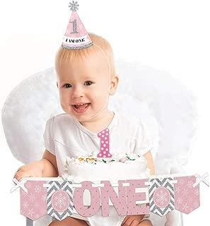 Big Dot of Happiness Pink Onederland 1st Birthday - First Birthday Girl Smash Cake Decorating Kit - Winter Wonderland High Chair Decorations