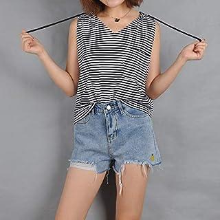 تي شيرت Striped Pocket Hooded Drawstring Sweater Sleeveless T-shirt تي شيرت (Color : Black White, Size : M)