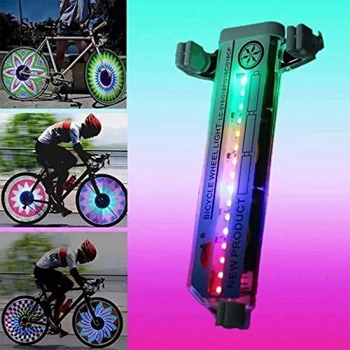 3D-Fahrrad-Speichen-LED-Leuchten Bunte wasserdichte Fahrradfelgen-Leuchten 30 Muster 16 LED-Fahrradspeichen-Lichtwechselmuster für MTB-Radreifen (2 STK.)