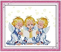 クロスステッチキット,DIY 手工刺绣套件アート11CT印刷十字绣 パターン スタンプ刺繍スターターキット,3人の天使,家庭刺繍装飾品,手作りホリデーギフト-16×20インチ