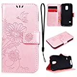 CE-Link - Funda protectora para Samsung Galaxy S5 Mini (piel, con cierre magnético), diseño de mariposa y flores, color oro rosa