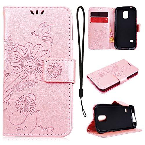CE-Link Cover Samsung Galaxy S5 Mini, Samsung Galaxy S5 Mini Case Wallet Card Holder Protective e Protettiva Flip Portafoglio Cover con Chiusa Magnetica - Rose Gold