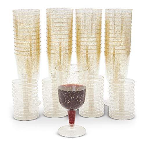 Gold Glitter Plastic Wine Glasses (7 oz, 50...