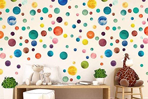 Walplus Colorido Acuarela lunares adhesivo pared, vinilo, multicolor, 35 x 24 x 20cm