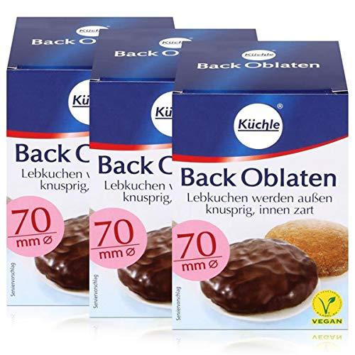 Küchle runde Back Oblaten 70mm Ø 71g - Lebkuchen bleiben innen zart (3er Pack)