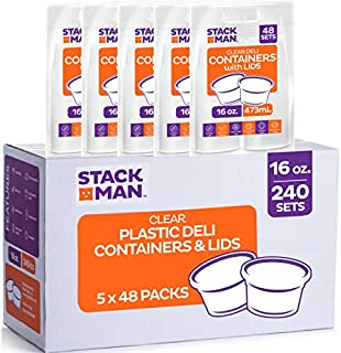Stack Man Plastic Food Storage Deli Containers with Airtight Lids, 16 oz. (Case of 240)