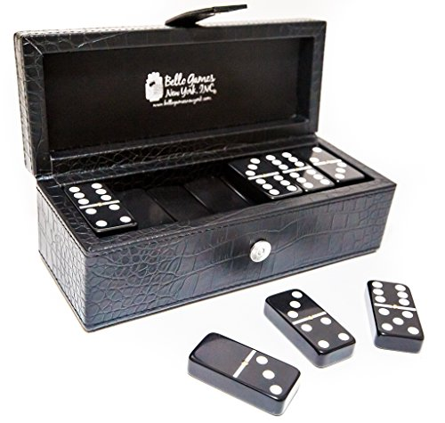 Flushing Meadows Double Six Black Professional Jumbo Size Tournament Dominoes Set with Spinners