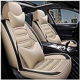 MIVPD Auto Juego Completo Fundas Asientos De Coche De Cuero Protector Car Seat Cover para Nissan Qashqai 06-13 Universal Delantero Trasero Cubreasientos Personalizadas 5-Asientos Funda Asiento,Beige