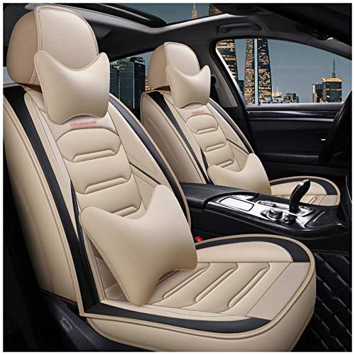 MIVPD Juego completo de fundas de asiento de coche para BMW 5Er E39 E60 E61 de ajuste universal de cuero para asientos delanteros y traseros de asiento de coche, color beige