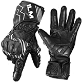 ILM Leather Motorcycle Gloves Touchscreen Gauntlet Winter Use for Men Women Powersports Racing Gloves (Black White, XL)