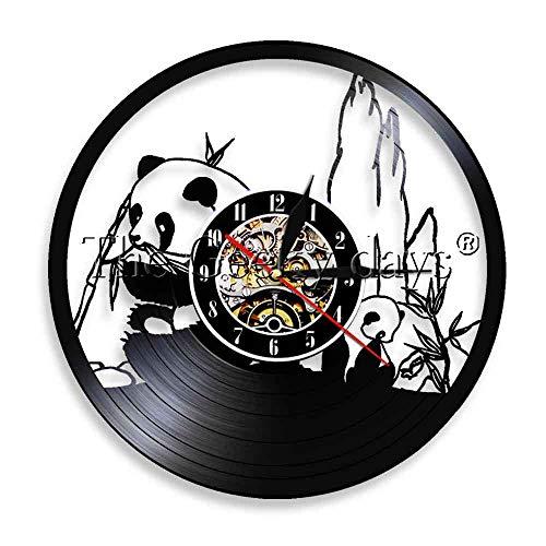 1 Stück Riesenpanda Nachtlicht Wilder Pandabär Essen Bambus Vinyl Schallplatte Wanduhr Dekor Exklusive Hängelampe-Keine