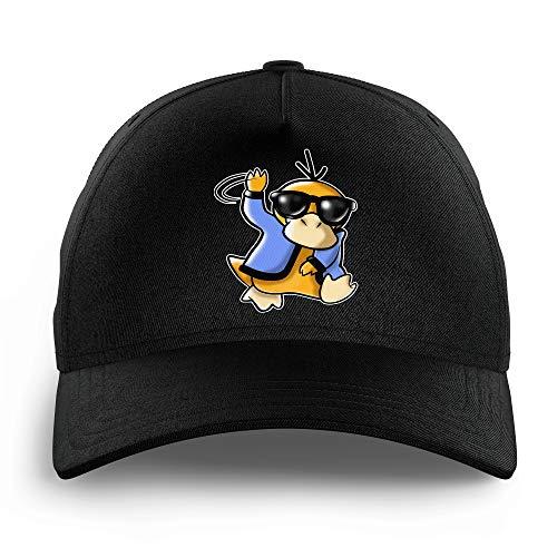 Okiwoki Casquette Enfant Noire Parodie Pokémon - Psykokwak réalisant Le Gangnam Style - Gangduck Style by Psyko :(Casquette de qualité supérieure - Taille Unique Ajustable - imprimé en France)