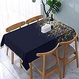Mantel Azul Marino Brillo Confeti Sepia Dorado mesas rectangulares Reutilizables Cubierta de Comedor Cubierta de Mesa de poliéster 137X183CM
