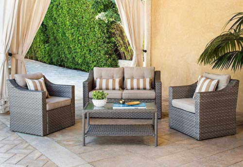 SOLAURA Outdoor Patio Furniture Set 5-Piece Conversation Set All Weather Wicker Furniture Sofa Set with Sophisticated Glass Coffee Table-Gray