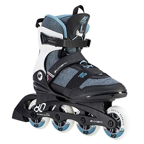 K2 Inline Skates ALEXIS 80 PRO Für Damen Mit K2 Softboot, Black - Grey - Blue, 30D0772
