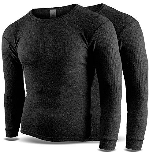 Thermounterhemd Thermounterwäsche Sport Unterhemden Herren 2 Stück langarm BlackSnake® - XXL - Anthrazit