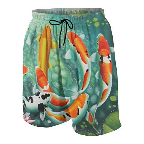 Pantalones Cortos de Playa para Hombre,Impresionante diseño de Peces koi japoneses,Trajes de baño de Secado rápido Trajes de baño con Forro de Malla y Bolsillos