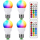 Bombilla Colores LED, Equivalente 40W, E27 5 Watt Blanco Cálido (2700K) RGB Regulable Cambio de Color Edison Control remoto (Pack de 4)