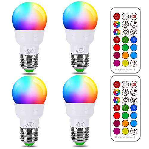 iLC RGB LED Light Bulb, Color Changing Light Bulb 2700K Warm White 5W E26 Screw Base RGBW, Flood Light Bulb- 12 Color Choices - Timing Infrared Remote Control, 40W Equivalent(4 Pack)