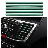 10 Pezzi Strisce Decorative per auto aria condizionata, a forma di U, Strisce interna dell'auto, Uscita Della Griglia di Ventilazione Cromata Strisce, verde