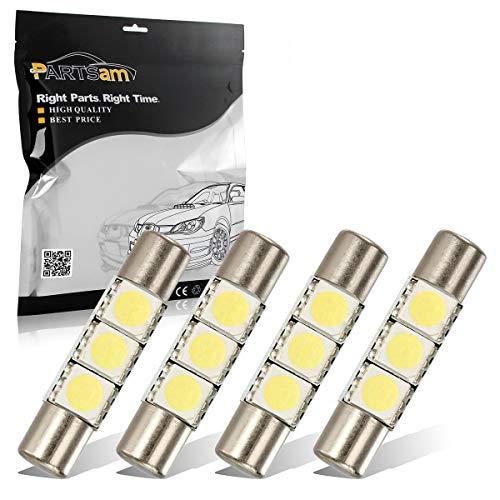 Partsam 29mm 6614F LED Light Bulbs for Car Interior Vanity Mirror Lights Sun Visor Lamps(4Pcs White)