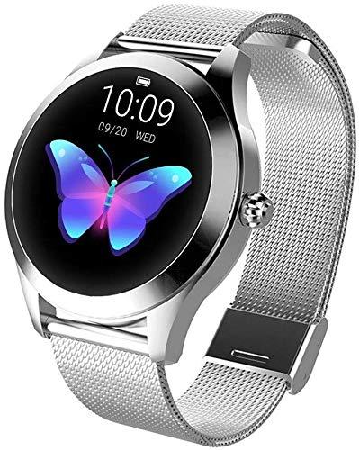 Smart Watch KW10,Runder Touchscreen IP68 wasserdichte Smartwatch für Frauen, Fitness Tracker mit Herzfrequenz- und Schlaf-Pedometer,Armband Für IOS/Android (Silver Steel Strip)