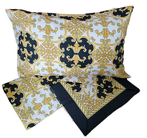 Completo letto misto cotone matrimoniale due piazze lenzuolo sotto sopra 2 federe stampa oro nero argento giallo vari modelli e colori serie Weeky (Matrimoniale, Week/3)
