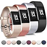 Tobfit 4 Pack Sport Bands Compatible with Fitbit Charge 2 Bands, Replacement Wristbands for Women Men Small/Large (Black/Champagne/Rose Gold/Silver, Small)