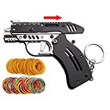 Rubber Band Gun New Generation Upgrade Mini Metal Foldable Toy Gun Keychain Foldable Handmade Toy Decor for Adults Kids