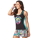Zumba Fitness Soft Graphic Print Dance Workout Active Racerback Tops for Women, Teal Me Everything, XS