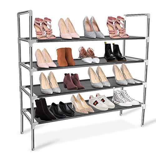 KOMCLUB Stabil Schuhregal 4 Ebenen schuhschrank Edelstahl Schuhablage aus Metall & Vliess Schuhständer für 20 Paar Schuhe 86 x 27.5 x 89.5cm