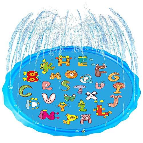 chlius Splash Pad, 170 cm de aspersor para niños, tapete de juego de salpicaduras, verano al aire libre, piscina, patio trasero, juguetes divertidos para niños y niñas de más de 12 meses