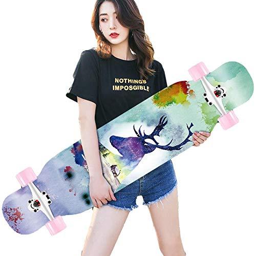 Skateboard de Longboard 42 ', monopatín Completo 8-caply Maple Concave Cruiser, para niñas niños Adolescentes Adultos Principiantes-B_42 Pulgadas
