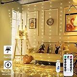Anpro Guirlandes Lumineuses Rideau 3 * 3M 300 LED 8 Modes d'Eclairage,USB Télécommande Rideau Lumineux Decoration de Fenêtre, Intérieur pour Noël, Mariage, Maison, Patio-Blanc Chaud