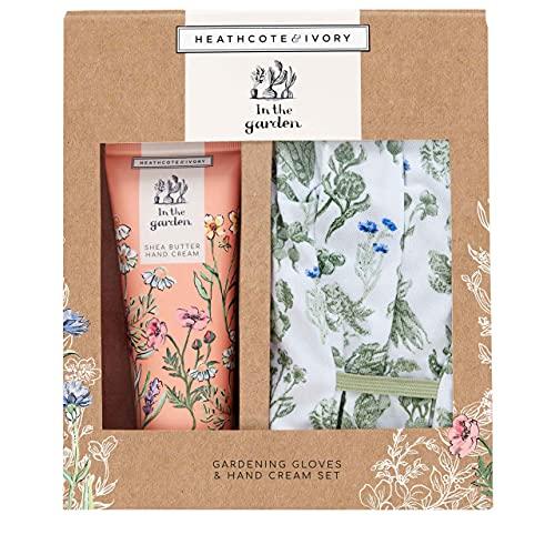 Heathcote & Ivory In The Garden Gardening Gloves Set and Shea Butter Hand Cream Gift Set, 0.227 kg