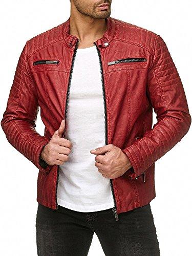 Red Bridge Hombres Chaqueta Cuero Sintético Transición Acanalada Moda Casuales Algodón Jacket