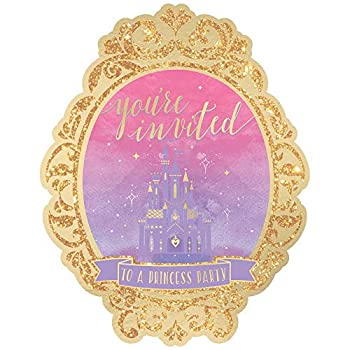 Disney Princess  Purple and Metallic Gold Deluxe Party Invitations 8 Ct.