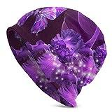 AEMAPE Purple Butterfly und Flower Beanie Unisex Warm Cuffed Plain Slouchy Skull Tägliche Strickmütze