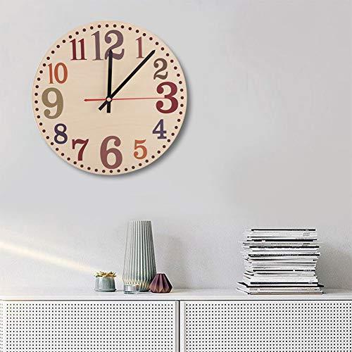 SUCIE Reloj, Reloj de Pared de Madera, Dormitorio, Sala de Estar para Ministerio del Interior(D Section, Black)