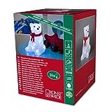 Konstsmide 6159-203 / Orso polare in acrile con fiocco rosso / 16 diodi bianco freddi/a batteria