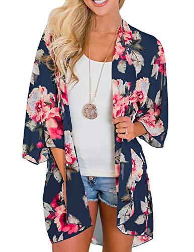 Zexxxy Damen Lange Sommer Boho Strand Kimono Cardigan Bluse Blumen Tops Bikini Cover Ups Übergroß Strickjacke Outwear, (Kurz)dunkel Blau, S