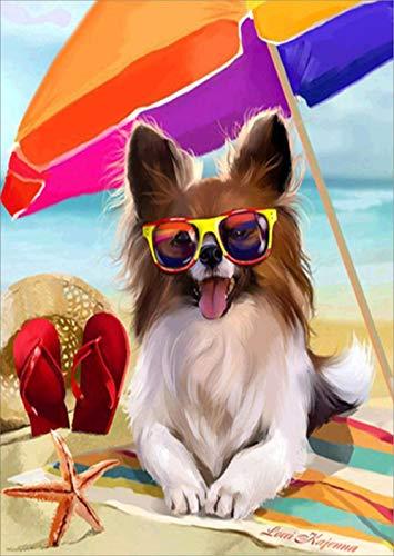 5D DIY diamantschilderset, voor strand, paraplu hond, decoratie thuis, cross ctitch, complete set, rond, om te boren 25x30cm