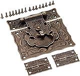 2 unids antiguo gabinete de bronce bisagras conjuntos de hardware de muebles de época y caja de 1pc bañador de pestillo Hebilla de palanca for joyería caja de madera