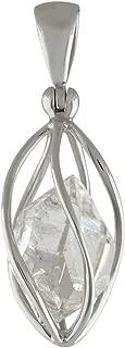 Sterling Silver cage set medium Herkimer Diamond Quartz Crystal Pendant
