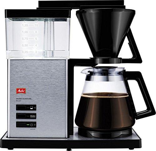 Melitta AromaSignature DeLuxe 100702, Filterkaffeemaschine mit Glaskanne, Heißbrüh-Verfahren, Schwarz/Edelstahl