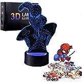 Regalo para niños y niñas, luz de noche 3D con 7 juguetes de color para niños de 8 a 12 años de edad, lámpara 3D, regalo de cumpleaños, edad 7, 8, 9, 10 niños
