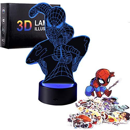 Regalo para niños, luz nocturna 3D con 7 juguetes de colores para niños de 8 a 12 años de edad, niños y niñas, lámpara 3D, regalo de cumpleaños de 7 a 8 a 9 a 10 años.