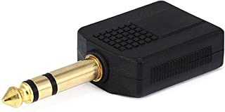 Monoprice 6.35mm (1/4 Inch) Stereo Plug to 2 x 6.35mm (1/4 Inch) Stereo Jack Splitter Adaptor - Gold Plated (107221)