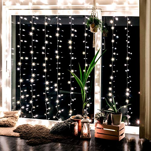 Cozyhome Light Chain With 300 Led, For Interior And Exterior With 8 Mode Of Warm White Light, Not Battery-Powered, But With Plug 3 X 3 M