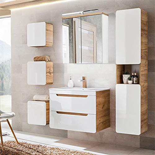Lomadox Badmöbel Komplett Set, Hochglanz weiß mit Wotaneiche, 80cm Keramik-Waschtisch, LED-Spiegelschrank, Hochschrank und 3 Hängeschränke